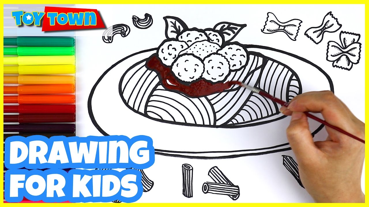 Best Toddler Learning Video How To Draw Pasta Meatball Spaghetti