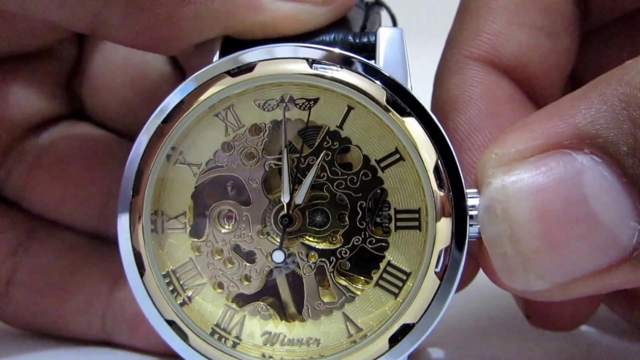 33b34c94bcc Relógio Automático Esqueleto Winner - YouTube