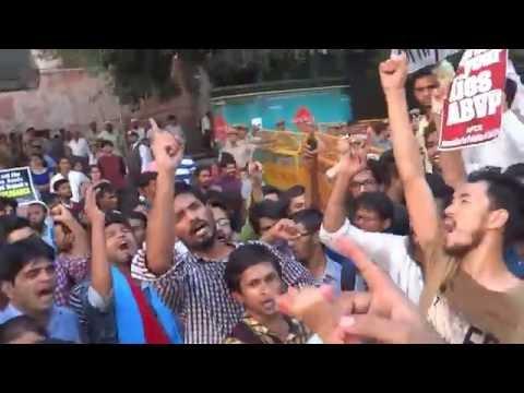 Bring Back Najeeb: JNUSU organised Strong Protest in front of Delhi Police Headquarters