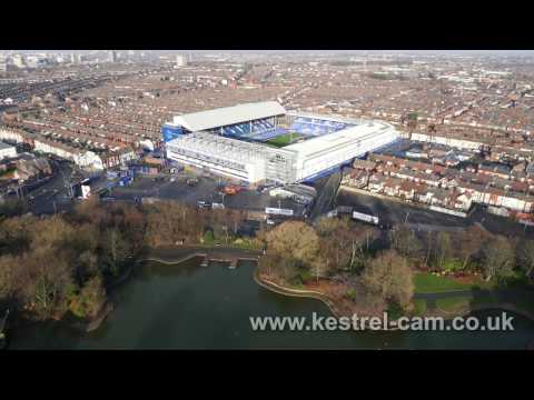 Aerial Drone Footage of Everton's Goodison Park Football Stadium
