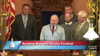 Sen. Shirkey honors Reading Rangers state championship football season