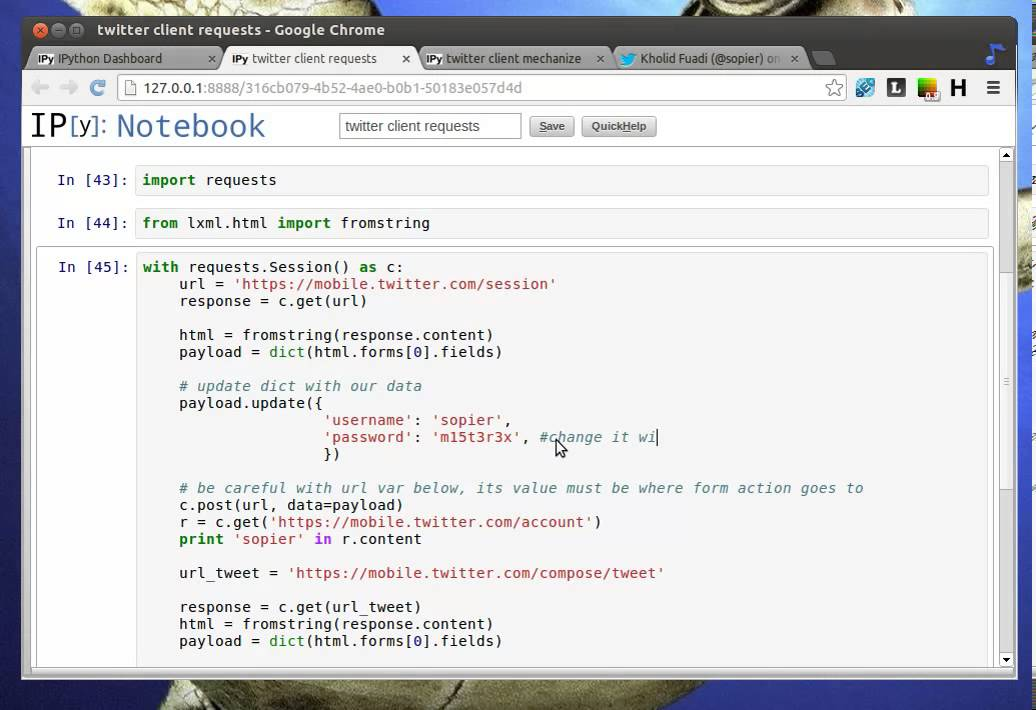 Python Tutorial - Tweeting from Mechanize and Requests Module