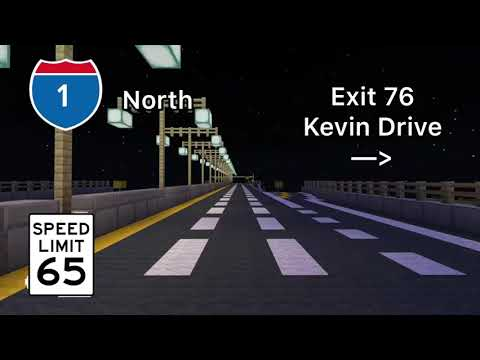 Minecraft Freeway! Interstate 1 at Night! (North and South)  