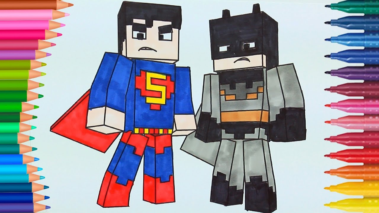 minecraft batman and superman how to draw and color
