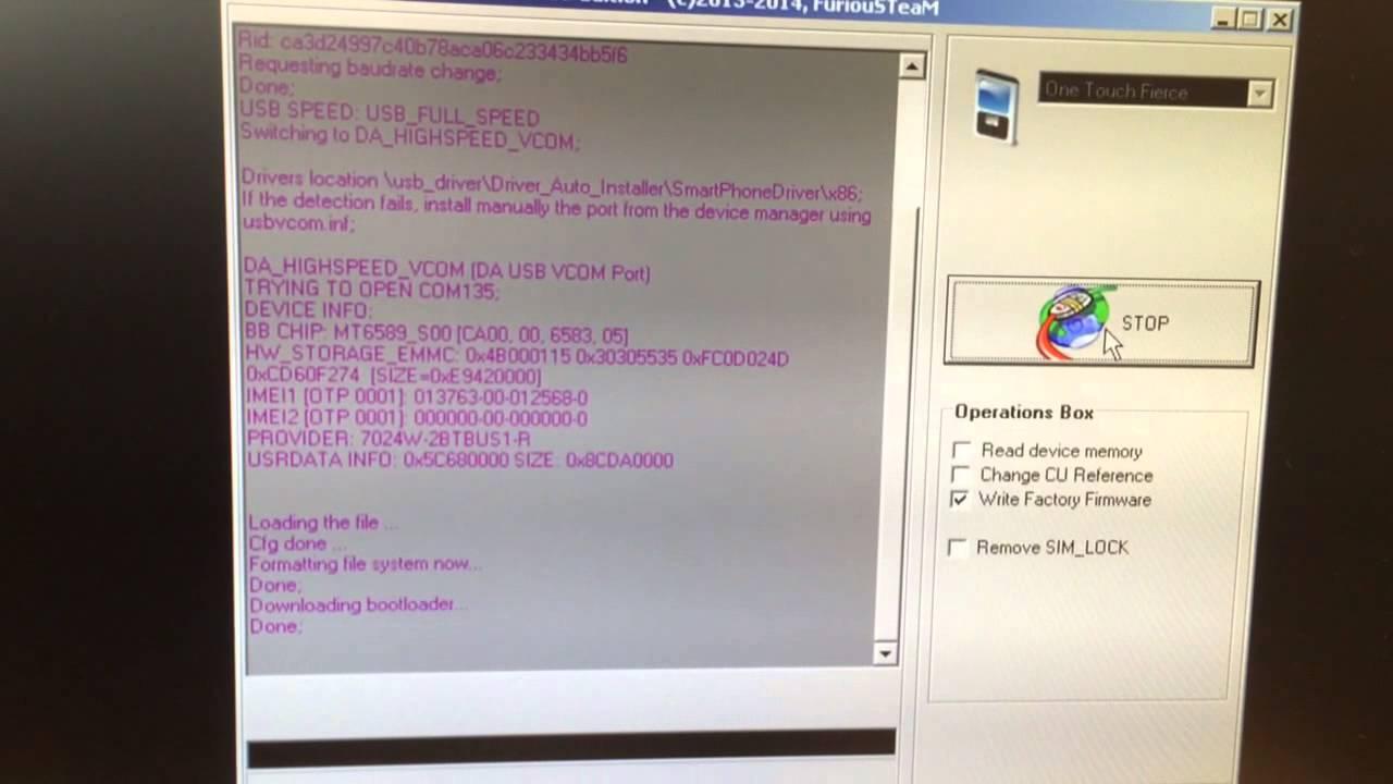Flash / Change Firmware / Repair One Touch Fierce (OT-7024)