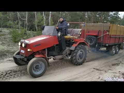 Саморобний трактор Іванович, 10 складометрів рубаних дров, вільха і береза, два прицепа