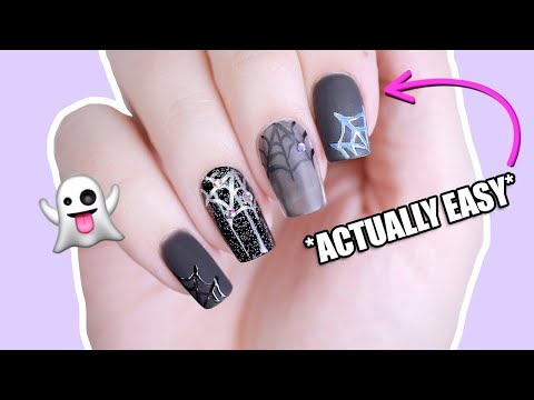 4 EASY Spiderweb Nail Art Designs for Halloween