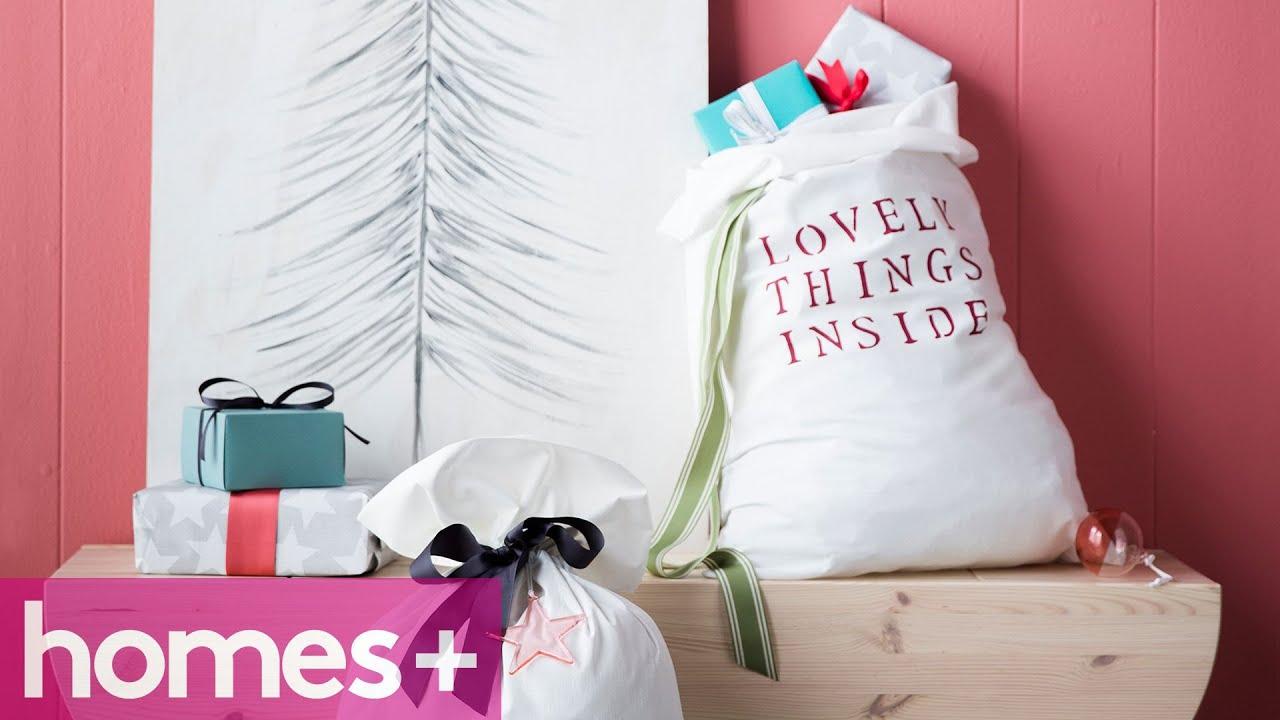 PILLOWCASE CHRISTMAS CRAFT IDEAS #1: Santa sack - homes+ - YouTube