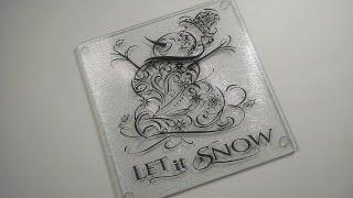 Filigree Snowman Vinyl Glass Board Project
