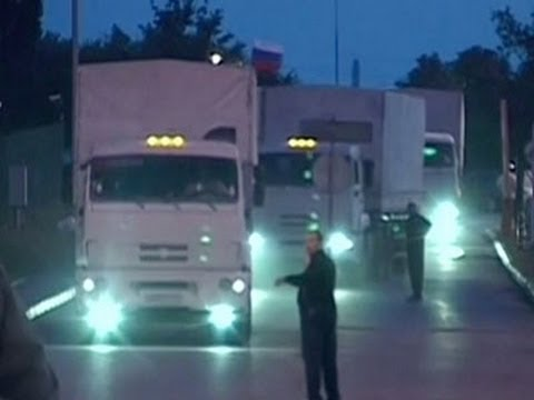 Raw: Reported Russian Aid Arrives in Ukraine