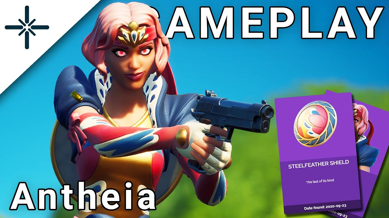 "LEAKED ""Antheia"" Hyacinth Fortnite Skin Gameplay (with ""Steelfeather Shield"" Back Bling)"