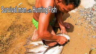 Catching River Fish With Net | Net Fishing in the Tropical Forest River