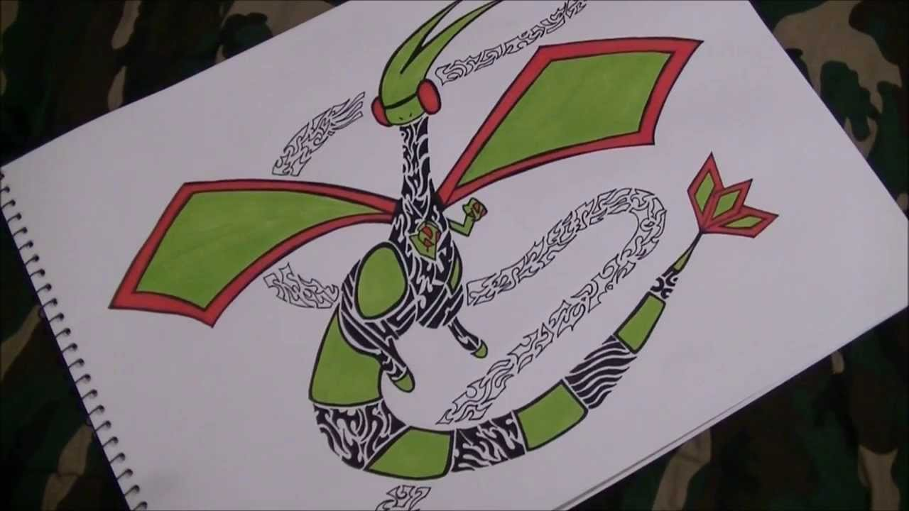 Tribal Pokemon Drawing Flygon Tattoo Design Speed