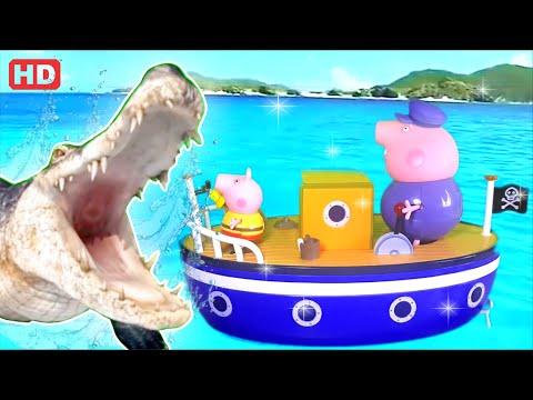 Pig George da Família Peppa Pig com medo do Ataque do Crocodilo Gigante Assustador!!! Em Portugues.