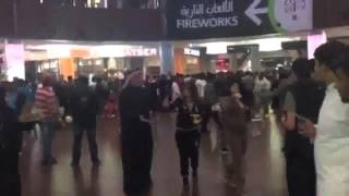 People running to safety inside #DubaiMall after fire at The Address hotel, Downtown