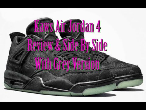 Air Jordan 4 XX kaws Black Review and Grey comparision