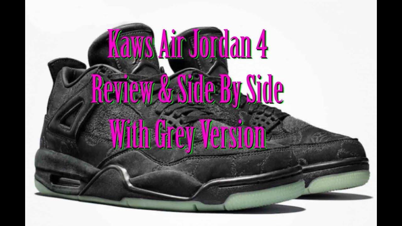 0dad6077c1a2 Air Jordan 4 XX kaws Black Review and Grey comparision - YouTube