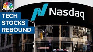 Nasdaq rises 1% as tech stocks rebound amid declining bond yields