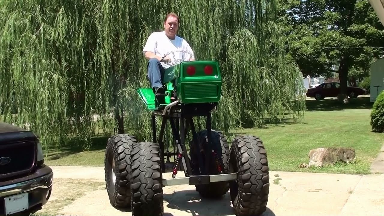 Souped Up Tractor : Awesome monster lawn mower start up and drive youtube