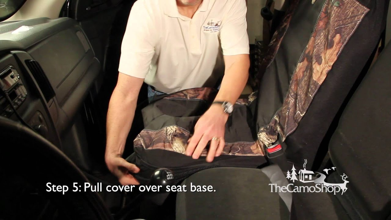 camo truck browning camo seat cover installation youtube