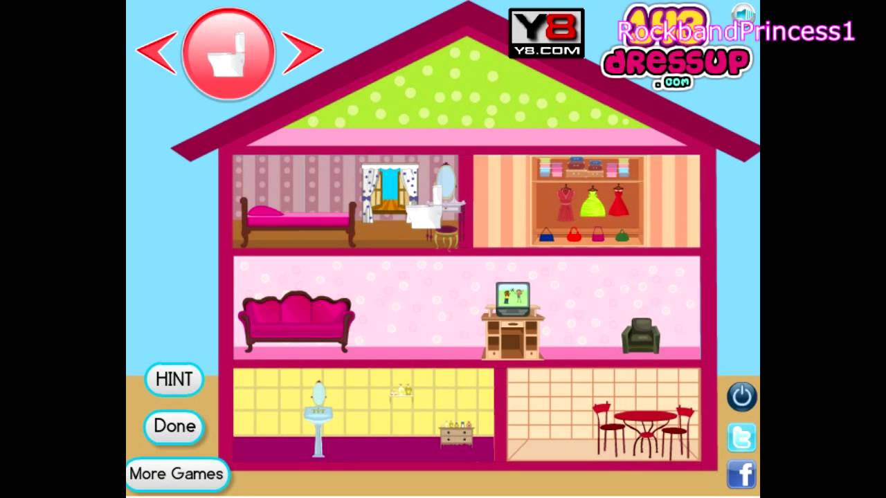 Barbie doll house decor game barbie online game youtube for All barbie house decoration games