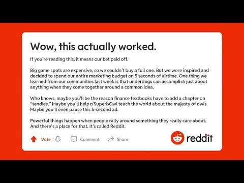 Reddit Super Bowl Commercial