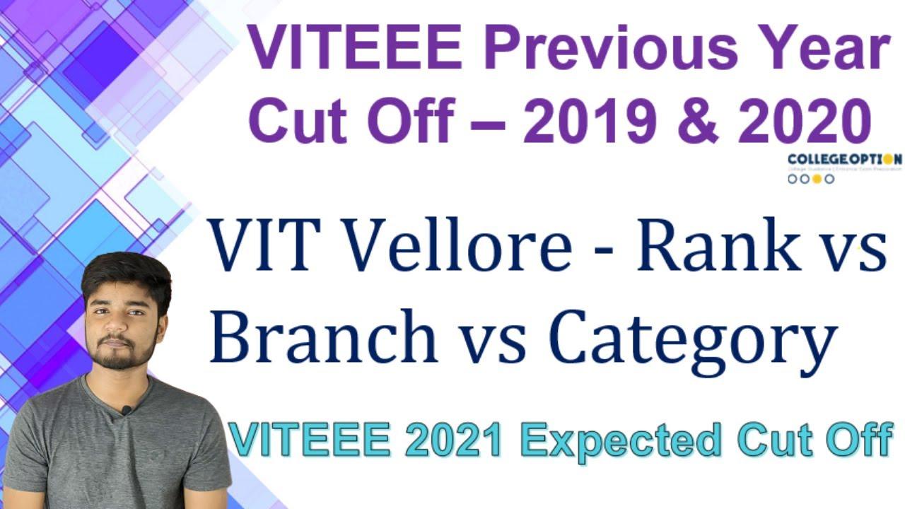 VITEEE 2021 Expected Cutoff - VITEEE 2020 and 2019 Rank vs Branch vs Category Cutoff Data