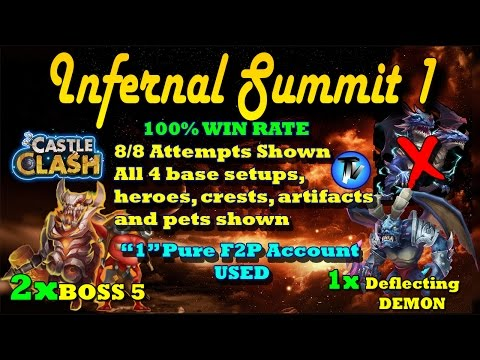 Castle Clash - Infernal Summit 1 | 100% Win Rate(without Demo) | 1 F2P Account Used