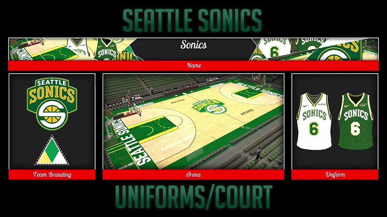 SEATTLE SUPERSONICS Uniforms/Court in NBA 2k17 (LOGOS IN DESCRIPTION)