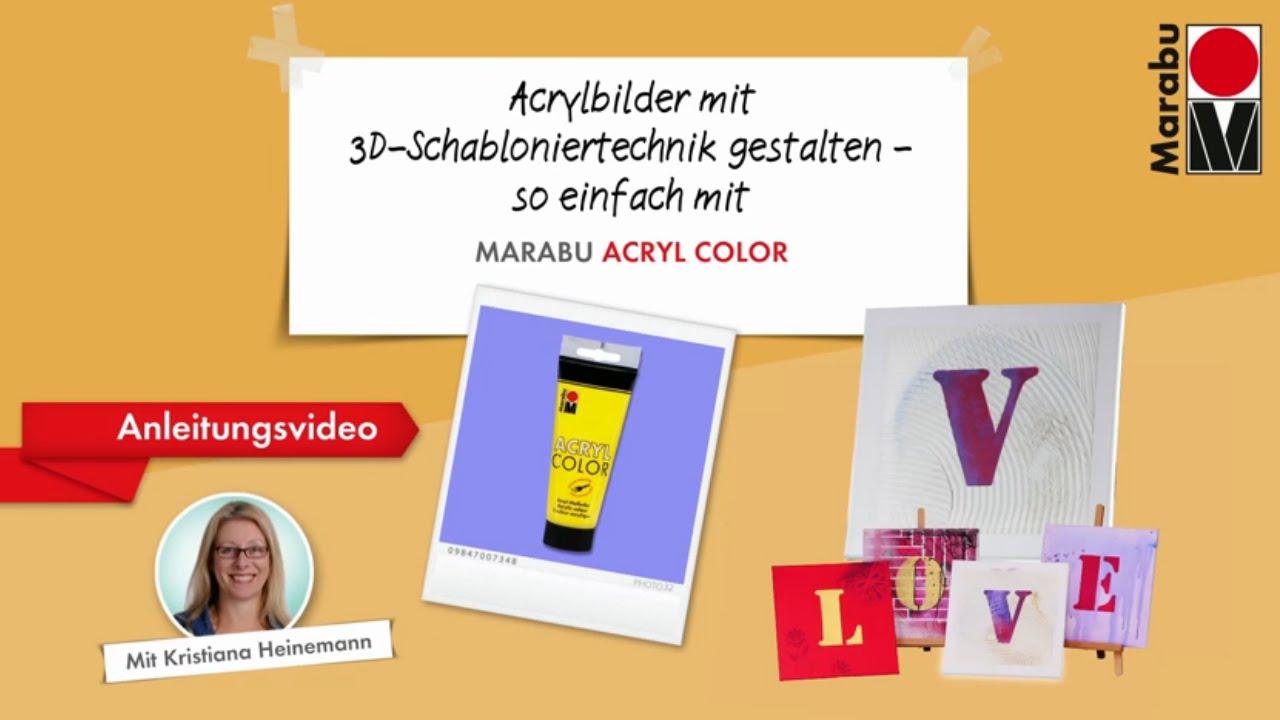 anleitungsvideo 3d schabloniertechnik keilrahmen love by marabu youtube. Black Bedroom Furniture Sets. Home Design Ideas