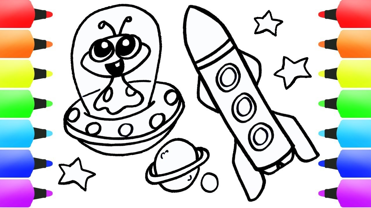 Space Rocket Coloring Page Learn Colors for Kids Paint ...