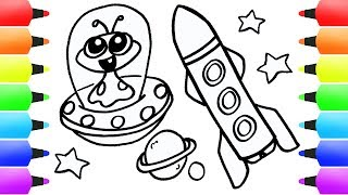 Space Rocket Coloring Page Learn Colors for Kids Paint Easy Drawings