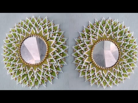 Beautiful Mirror room decor | Wall hanging | Cotton ear buds craft | 158