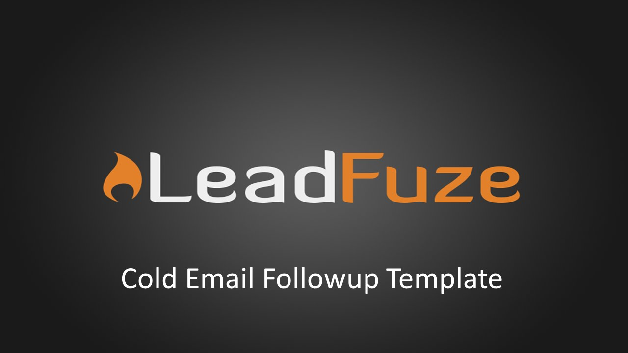 Cold Email Followup Template - YouTube