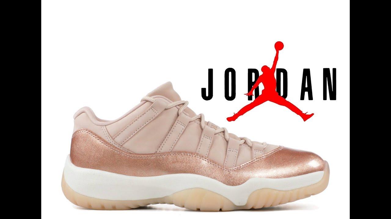 6a48f7518eb11c NIKE WOMENS AIR Jordan 11 Retro Low Rose Gold AH7860 105 - YouTube