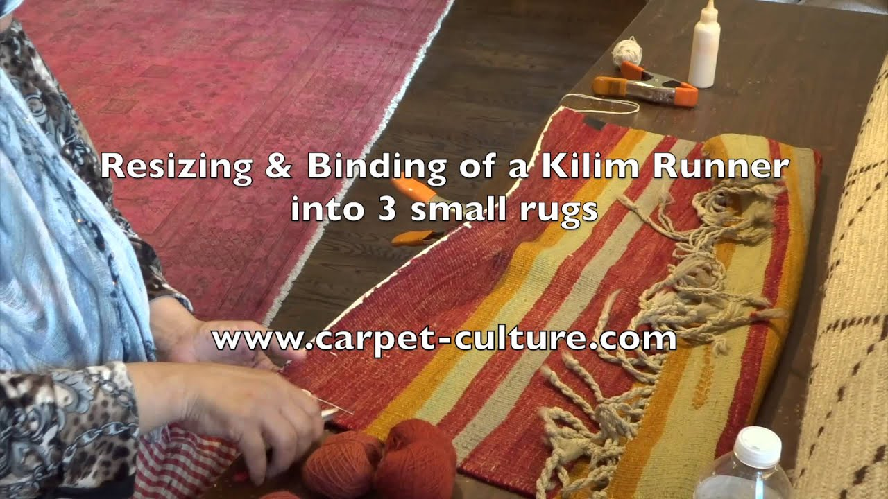 Resizing And Binding Of A Kilim Runner Into 3 Small Rugs