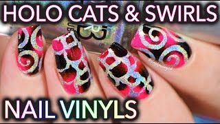 Holographic cat nails with vinyls - SO EASY MEOW