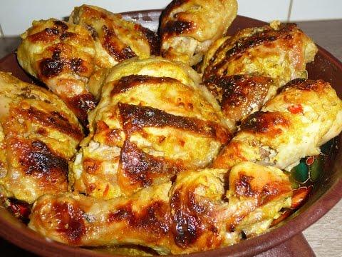Пряные куриные бёдрышки или окорочка запечённые в духовке