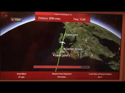 Emirates Dubai to Washington DC 13 hours long Flight Path