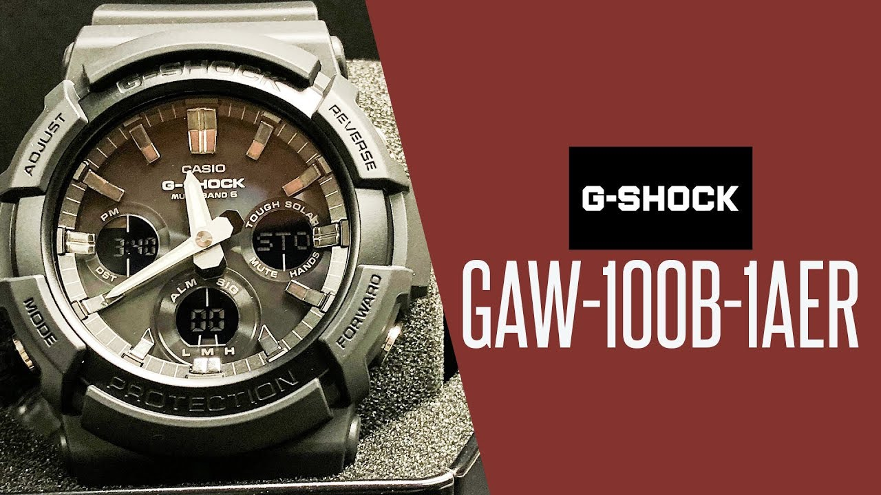 eea6c5b9736 Casio G Shock GAW 100B 1AER watch unboxing video - YouTube