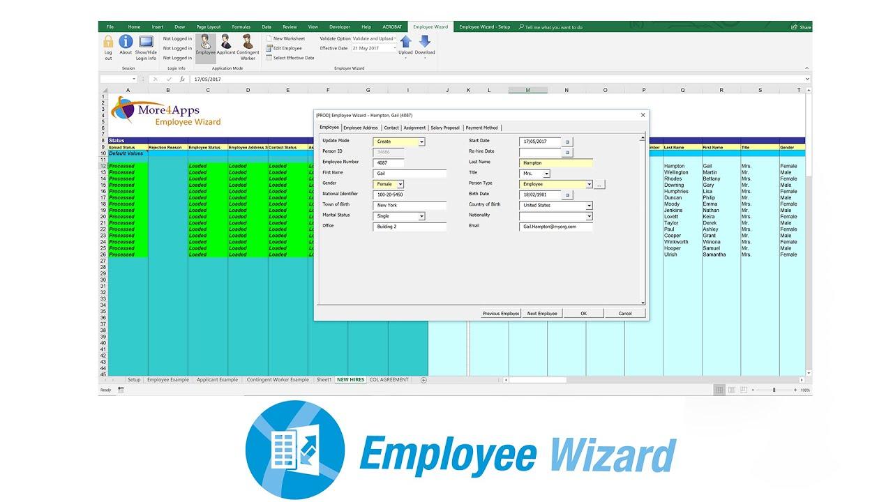 Employee Wizard - Upload Bulk Employee Data to Oracle