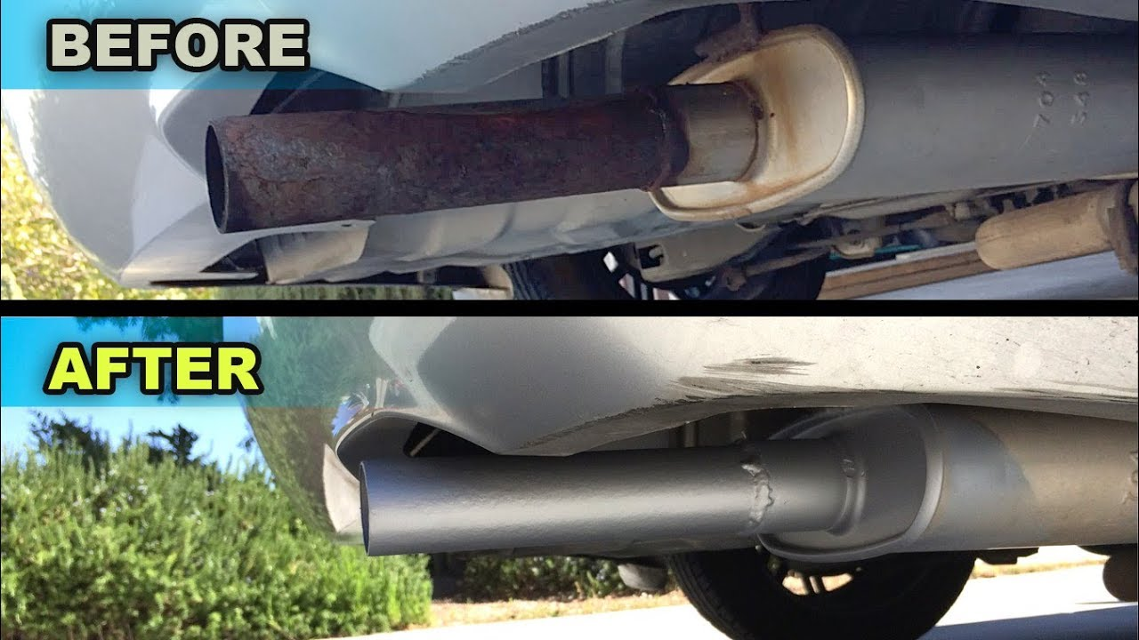 Painting a Rusty Muffler Tail pipe - YouTube
