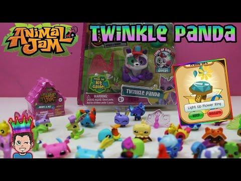Animal Jam - TWINKLE PANDA - LIGHT-UP FLOWER RING + Adopt A Pet Blind Dens Opening