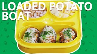 Mexican Potato Skins - Cheese Loaded Potato Boat - Fusion Recipe For Kids Tiffin Box