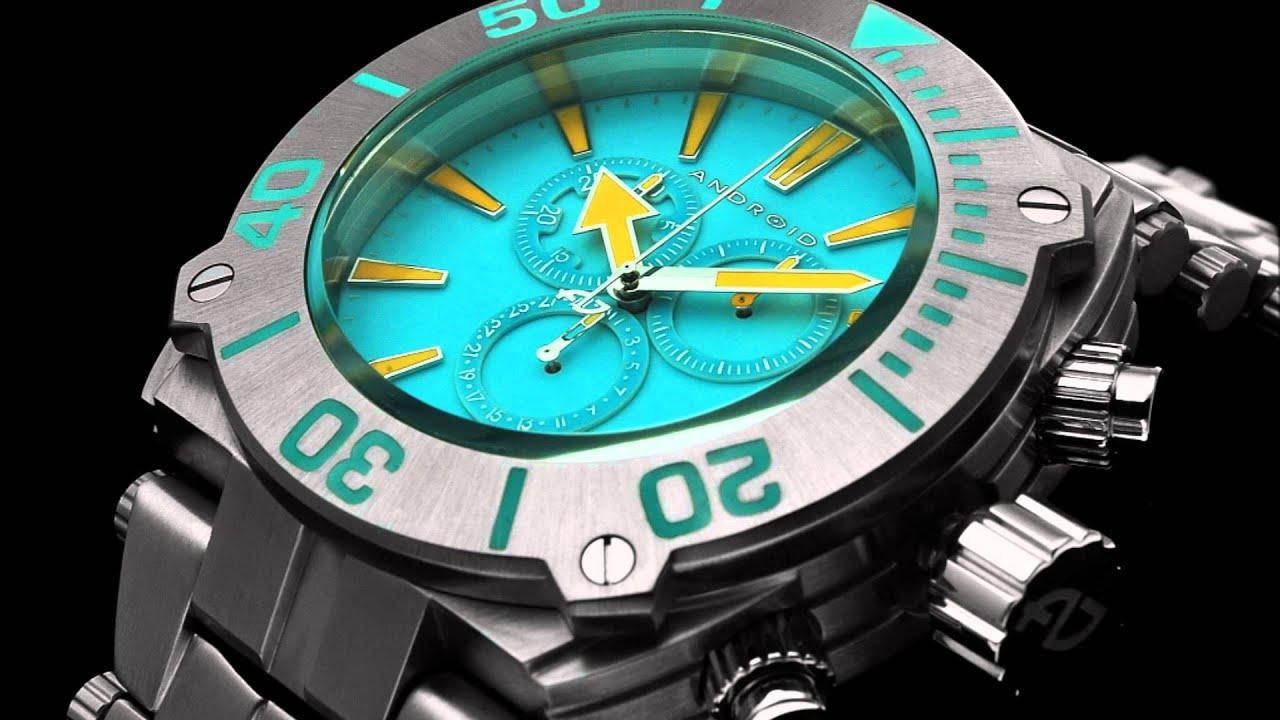 Android millipede chrono super luminova edition ad581 android watches youtube for Android watches