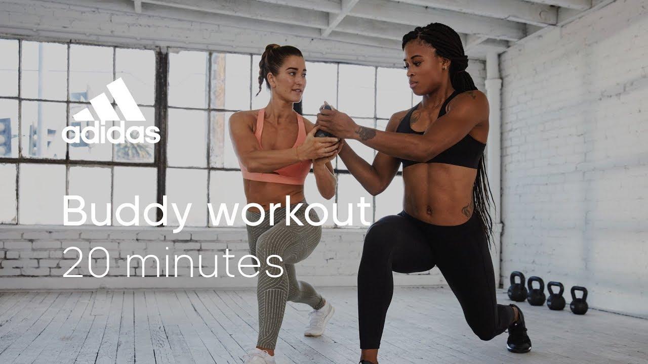 20 min HIIT Buddy Workout with Jaws & Sharika   adidas women workouts