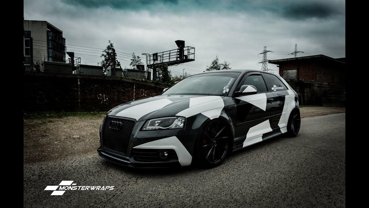 Monsterwraps Audi A3 Stealth Grey Camo Wrap Car