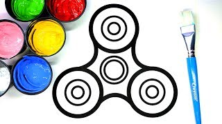 Painting Fidget Spinner Painting Pages for Baby and Kids, Learn to Color with Paint 💜 (4K)