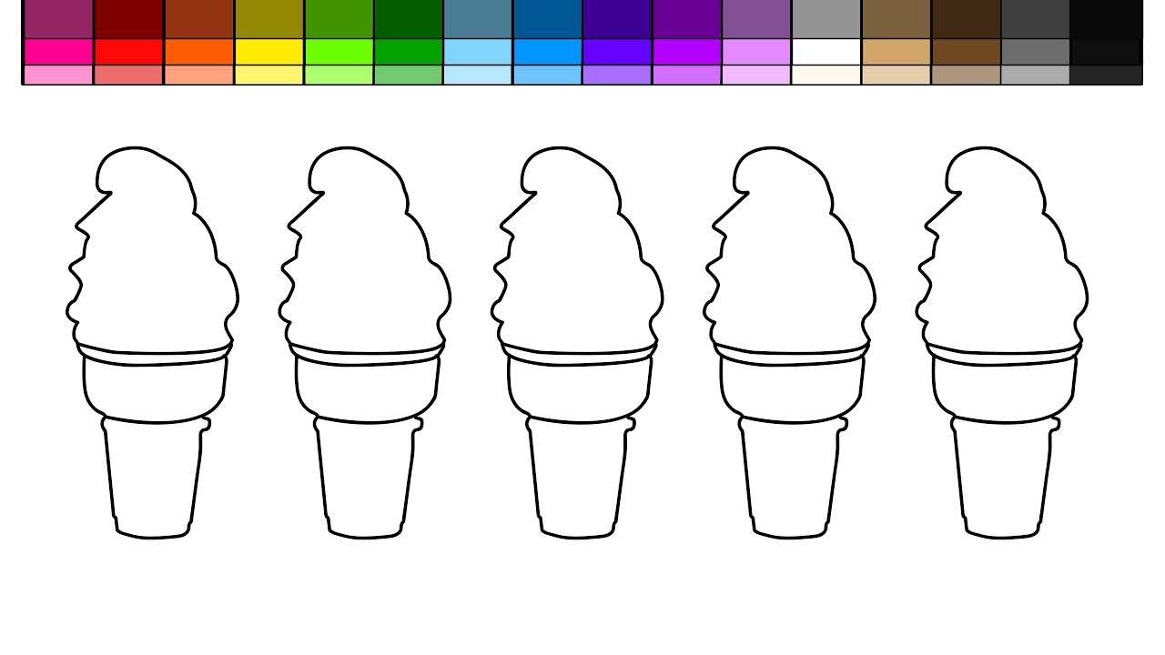 Learn Colors For Kids And Color Soft Serve Ice Cream Cones With Rainbow Coloring Pages