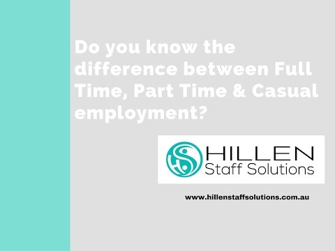 Do you know the difference between Full Time, Part Time & Casual employment?